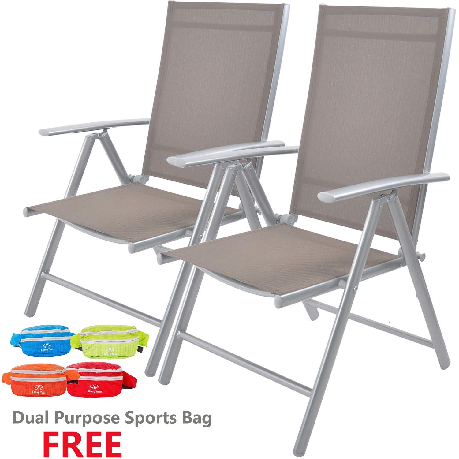 Livebest Set of 2 Folding Sling Back Chairs Patio Adjustable Reclining Back Sturdy Aluminum Frame with Armrest Chair Zero-gravity Indoor Outdoor Garden Pool Bench,Gary by Livebest