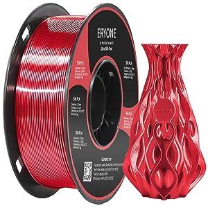 Eryone Ultra Silk PLA,1.75mm PLA Filament,3D Printing Filament PLA for 3D Printer and 3D Pen, 1kg 1 Roll (Red)