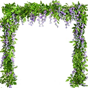 Artificial Plants Flowers 5pcs-31.2ft Fake Flower Wisteria Ivy Vine Faux Plastic Silk Green Leaves Hanging Flowers Vine Garland for Wedding Home Kitchen Office Wall Outside Party Decor (Purple)