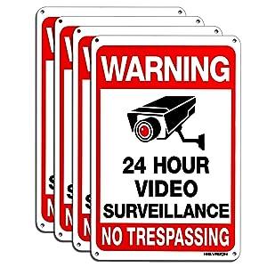 Video Surveillance Sign 4-Pack, HISVISION No Trespassing Metal Reflective Warning Sign,UV Protected & Waterproof, 10