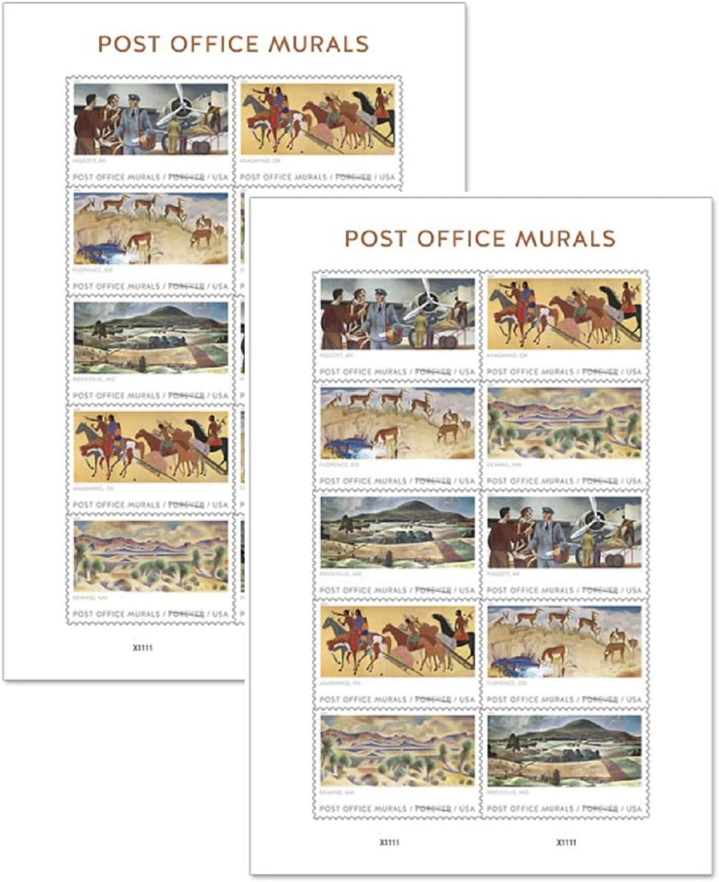 Post Office Murals Forever Stamps 2019 Release (2 Sheets of 10)