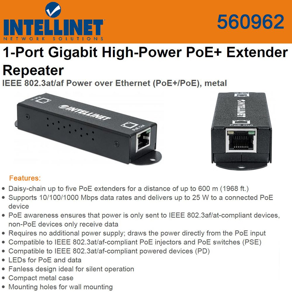 Intellinet 560962 1 Port Gigabit High Power Poe Over Ethernet Cable Diagram Electronic Kits Extender Repeater Ieee 8023at Af Metal Black Computers