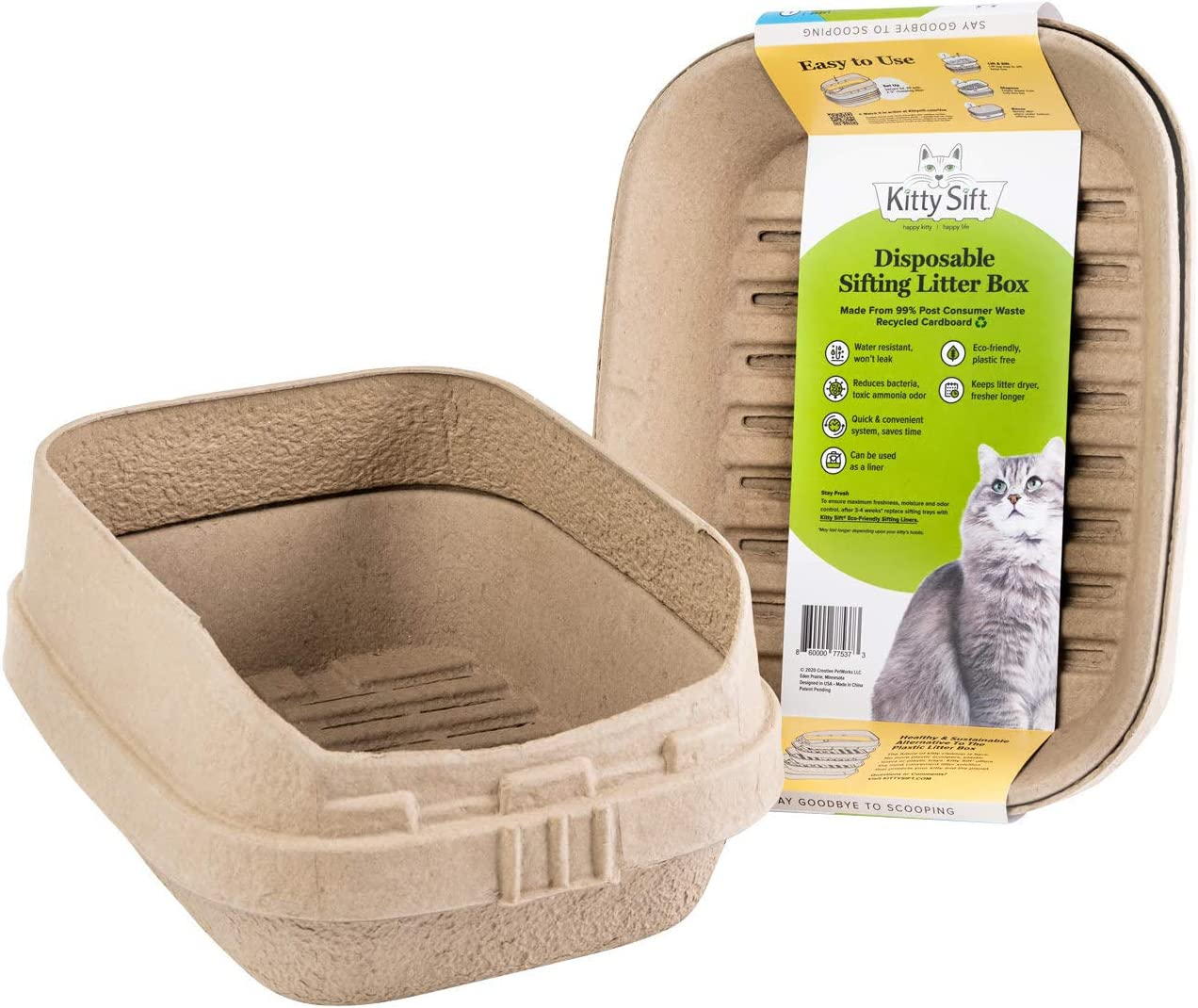 Kitty Sift Disposable Sifting Litter Box and Eco-Friendly Sifting Liners, Jumbo and Large Sizes