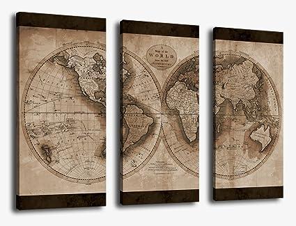 Old World Map Canvas.Amazon Com Yearainn Canvas Wall Art World Map Painting Artwork