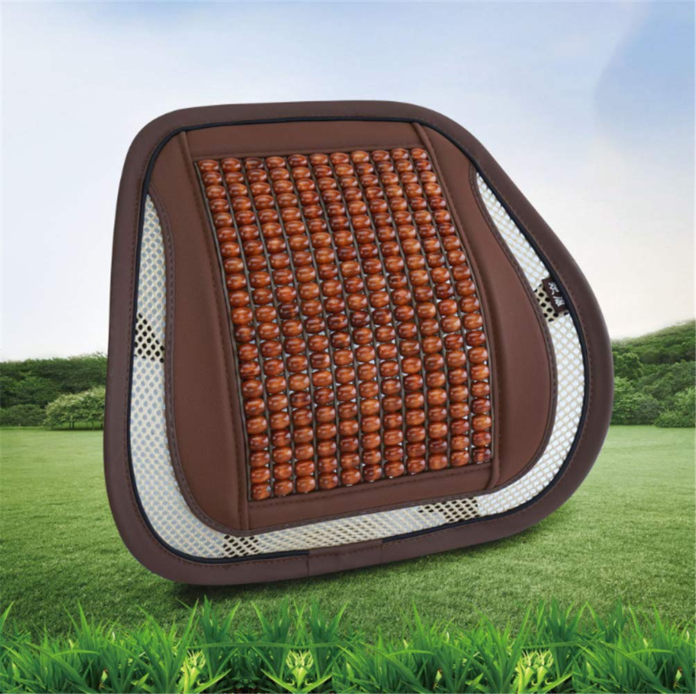 Wooden Beads Waist Car With Cool Cushion Waist Pad Waist Bracket Pad Car Supplies Curry Color