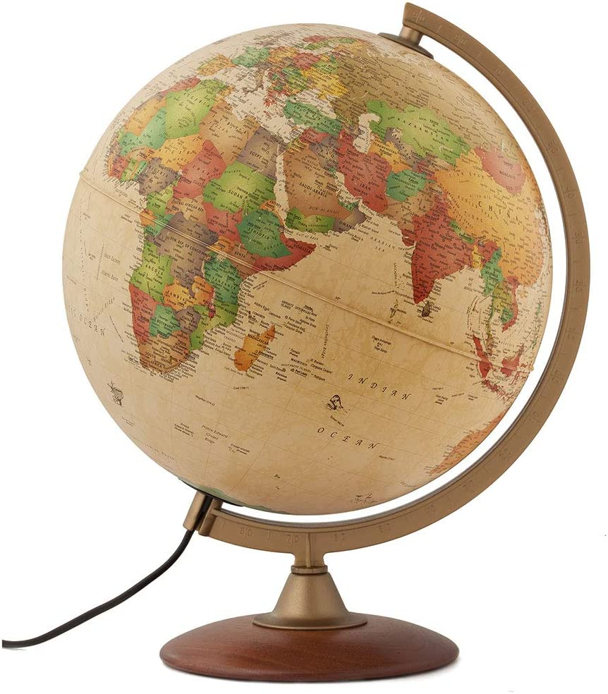 "Waypoint Geographic Light Up Globe - Journey 12"" Illuminated Antique Ocean Style World Globe with Wood Stand for Desk, Office, Home Decor - 1000s of Up to Date Places and Points of Interest"