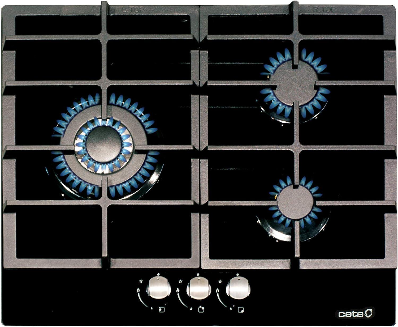 Cata - Modelo LCI 6021 BK, 3 Quemadores Encendido Eléctrico, Encimera de Gas Natural, Ancho de 58 cm, Negro