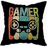 TOMKEY Hidden Zippered Pillowcase Gamer Game Controller 18X18Inch,Decorative Throw Custom Cotton Pillow Case Cushion…