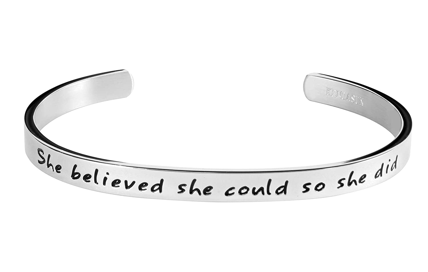 """She believe she could so she did"" Inspirational Bracelet Cuff Bangle"