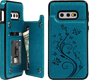 SUPWALL Galaxy S10E Card Holder Case, Galaxy S10E Wallet Case Embossed Butterfly Leather Cover Shockproof TPU Shell with Credit Card Slot Protective Skin for Samsung Galaxy S10E, Blue