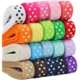 "QingHan Grosgrain Ribbon for Gifts Wrapping Crafts 3/8"" Boutique Polka Dot Fabric Ribbon 40yd (20 x 2yd)"