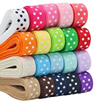 "QingHan Boutique 40yd (20 x 2yd) 3/8"" Polka Dot Grosgrain Ribbons For Gifts Wrapping"