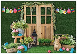 Allenjoy 7x5ft Fabric Green Spring Easter Backdrop Supplies for Professional Photography Hare Rabbits Decoartions Colorful Eggs Studio Children Cake Smash Portrait Pictures Photoshoot Props Favors
