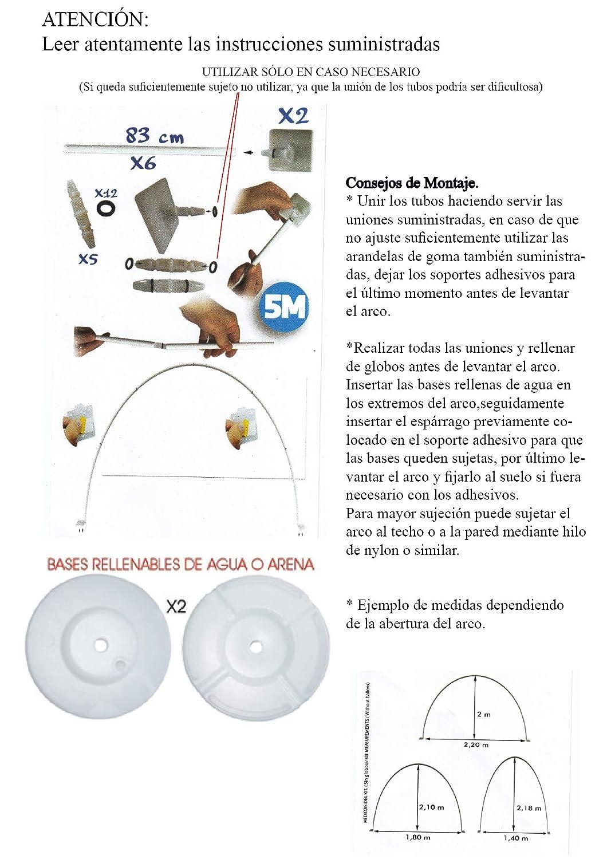 Estructura para Arco DE Globos 5 Metros con Soportes Adhesivos + 2 Bases RELLENABLES DE Agua + 30 Clips FIJADORES DE Globos: Amazon.es: Juguetes y juegos