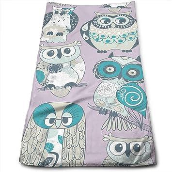 "ewtretr Toallas De Mano,Owls Microfiber Beach Towel Large & Oversized - 11.8""X27"
