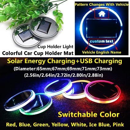 2pcs Solar Energy Car Auto Cup Holder Bottom Pads Mats LED Light Covers Trim New