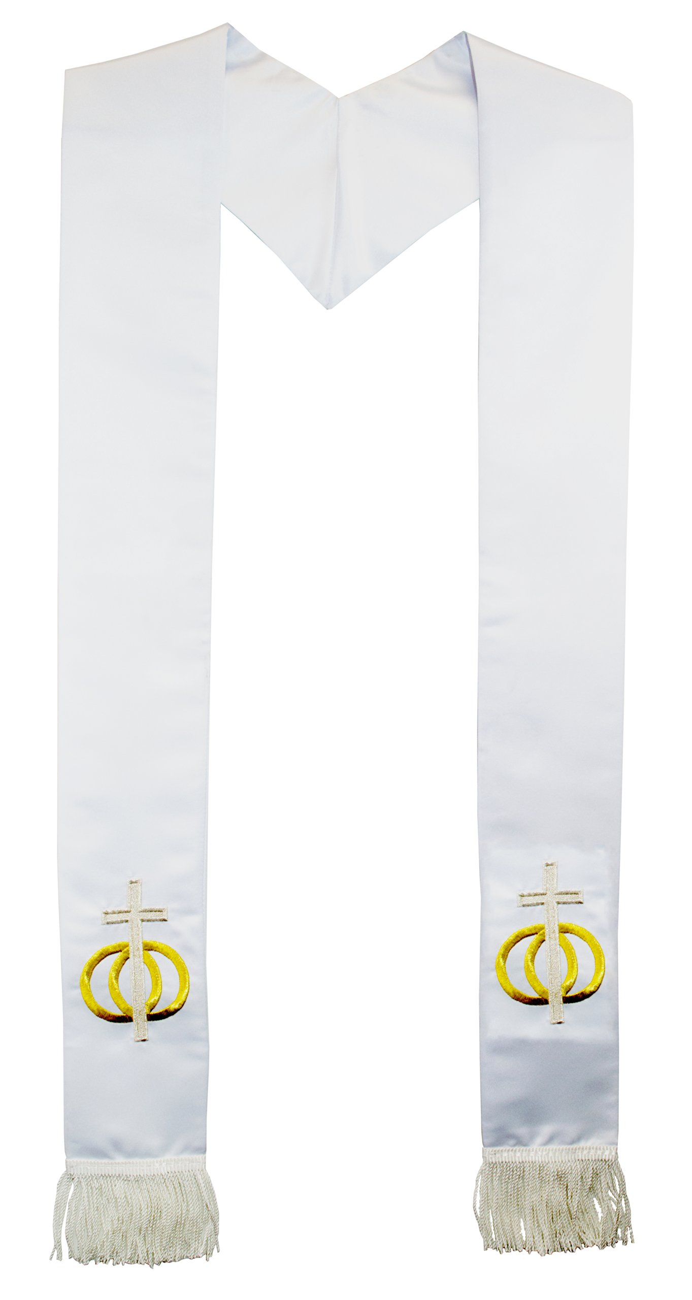 Deluxe Fringe White Satin Minister Clergy Stole embroidered Gold Wedding Rings