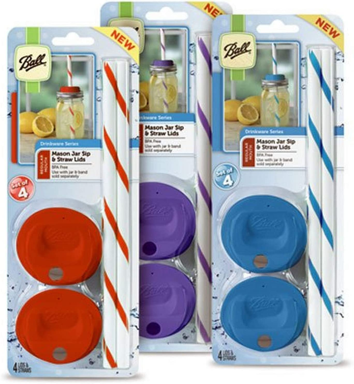 Jarden Home Brands Ball Mason Jar Wide Sip Lids 4 Straws