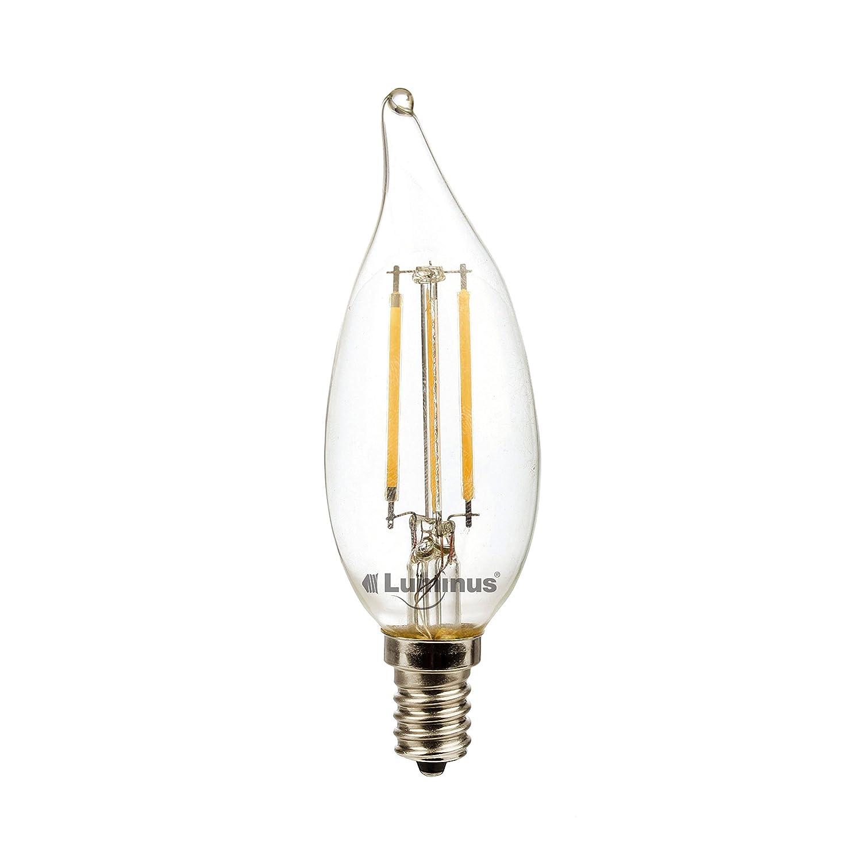 6 Pack 330 Lumens 2700K Dimmable Light Bulb Warm White Luminus PLFV6112F LED Filament 4W 40W