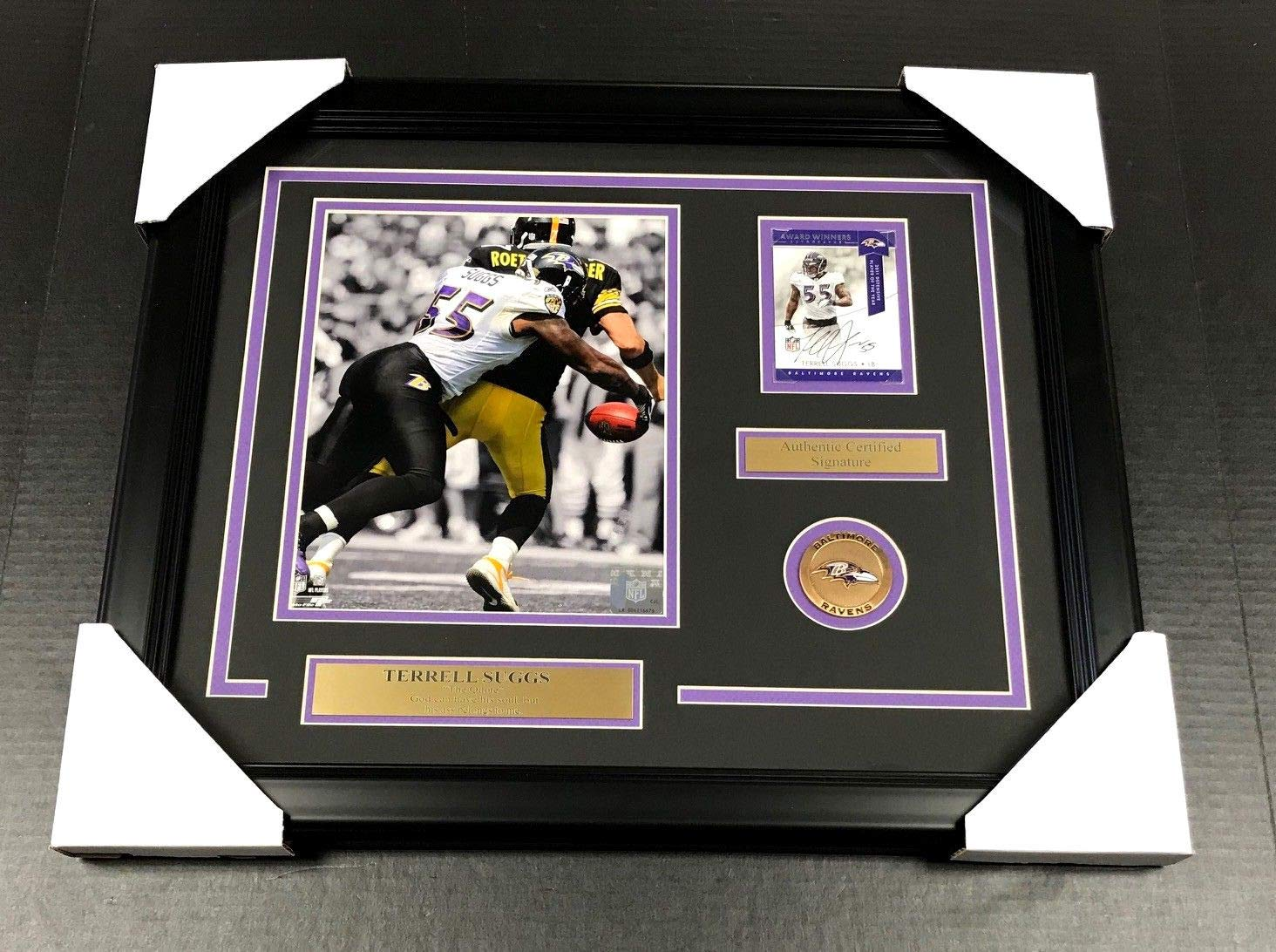 TERRELL SUGGS SIGNED AUTOGRAPHED CARD FRAMED BALTIMORE RAVENS 8X10 PHOTO