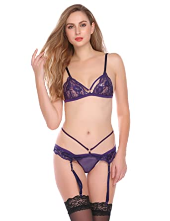 2a5e855782 Adidome Women Sexy Lace Unlined Bralette Bra Stockings Lingerie Garter Sets