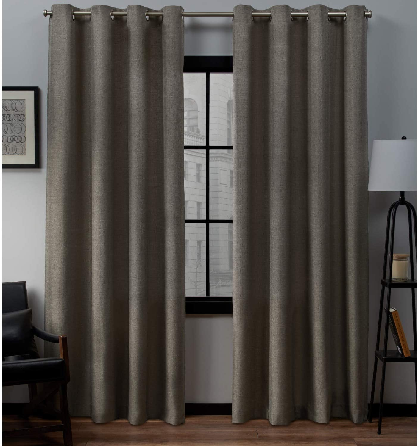 Exclusive Home Curtains Loha Linen Grommet Top Curtain Panel Pair, 54x84, Cafe