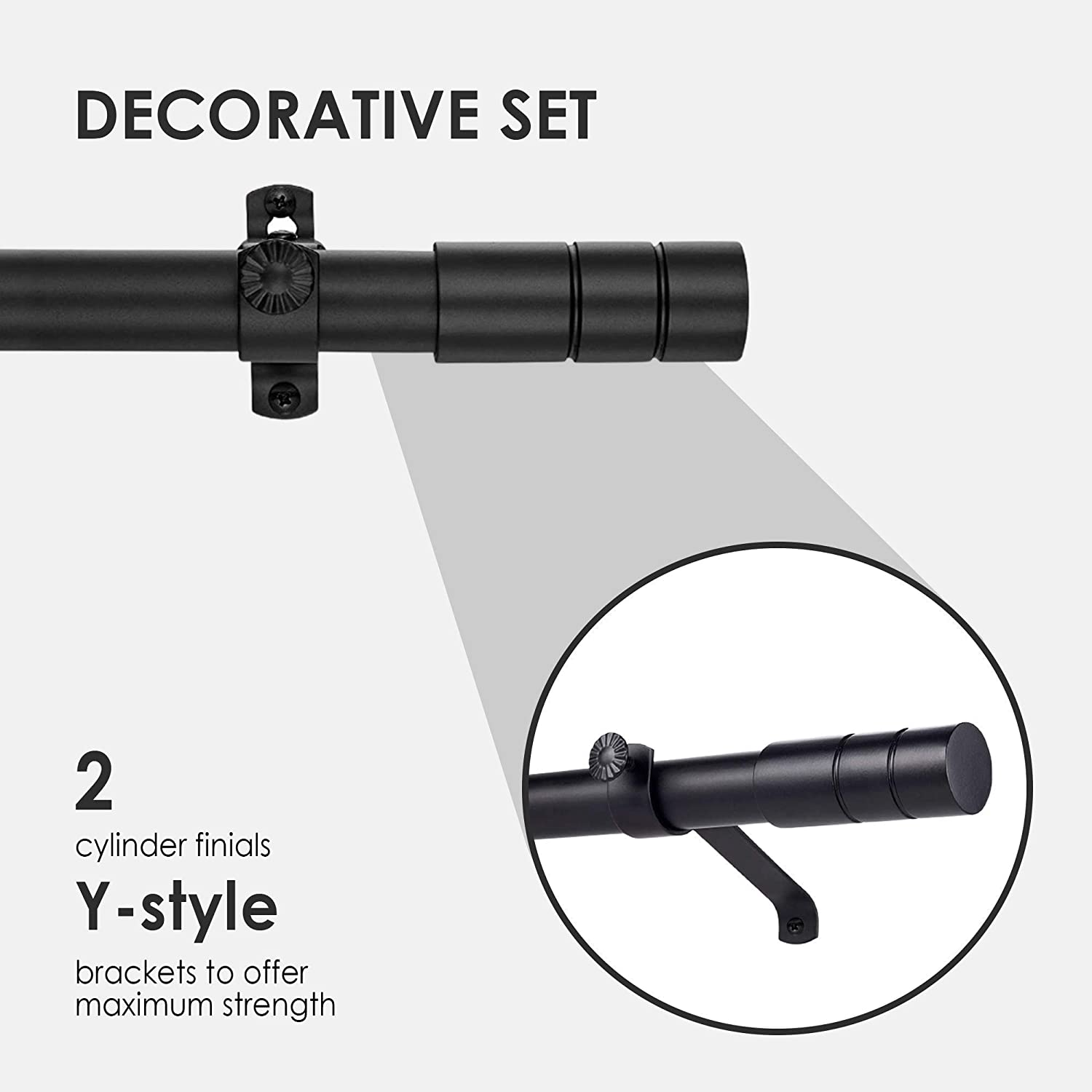 for Kitchen Living Room /& Windows Black Metal Telescopic Drapery Hardware Set Adjustable Rod 72 to 144 Width with Y Style Bracket /& Cup Finial Tailor /& Taylor Curtain Rod With Cylinder Finials