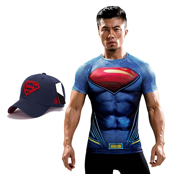 ae8bc9946a8 Treemoda Superman Dry fit 3D Gym Compression T-Shirt with Baseball Cap Free  for Men