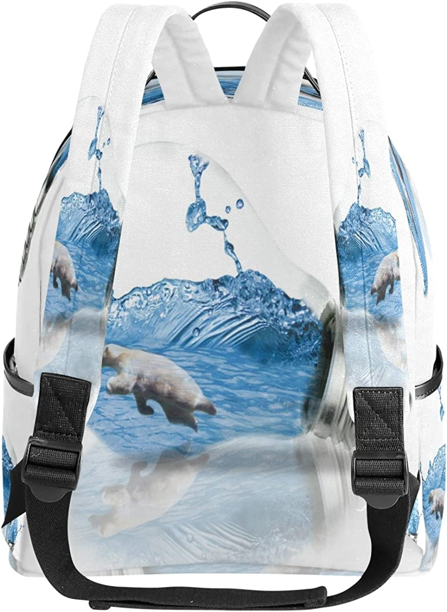 Mr.Weng Bear In The Bulb Printed Canvas Backpack For Girl and Children