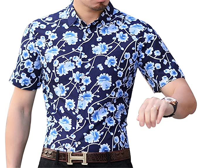 200713cc ARTFFEL Mens Non-Iron Plus Size Floral Print Business Short Sleeve Button  Down Shirts 1