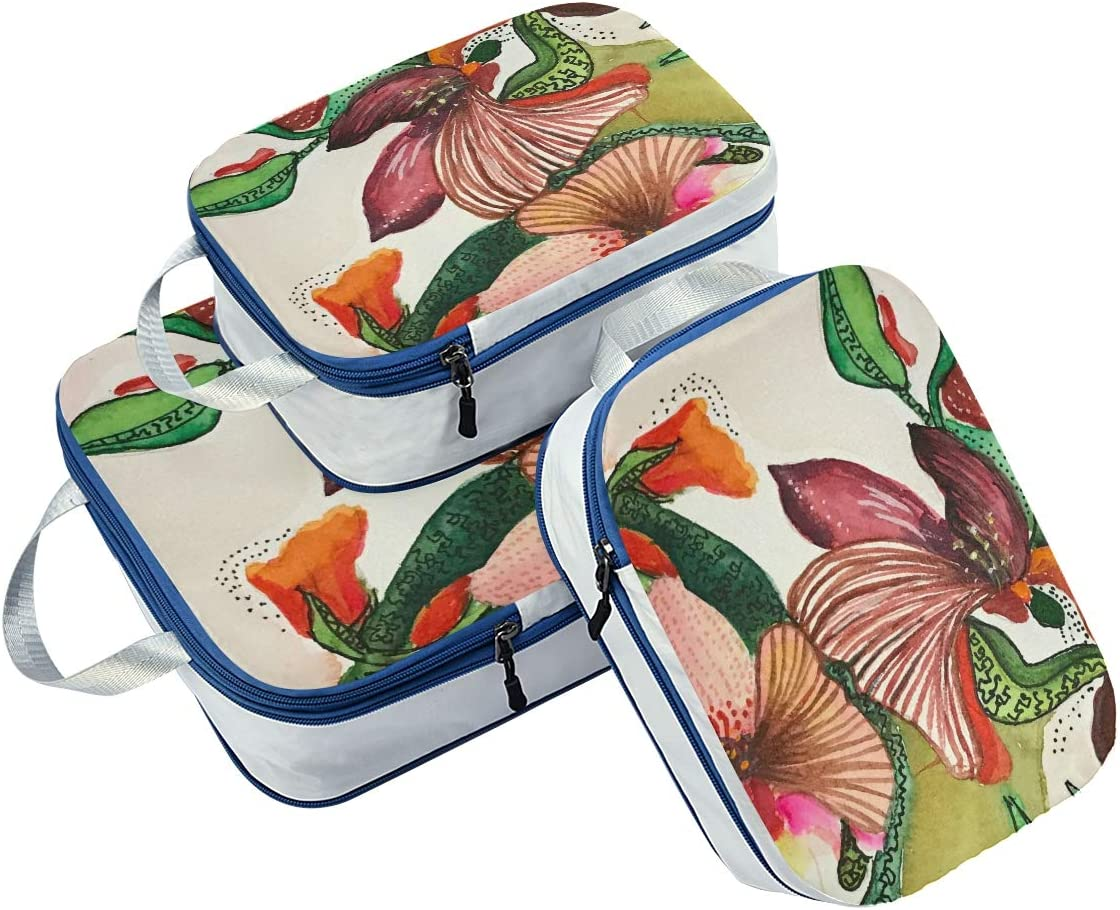 d Floral Flowers 3 Set Packing Cubes,2 Various Sizes Travel Luggage Packing Organizers