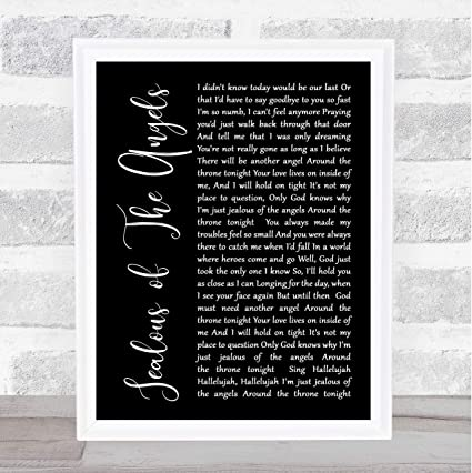 Amazoncom Jealous Of The Angels Black Script Song Lyric Quote