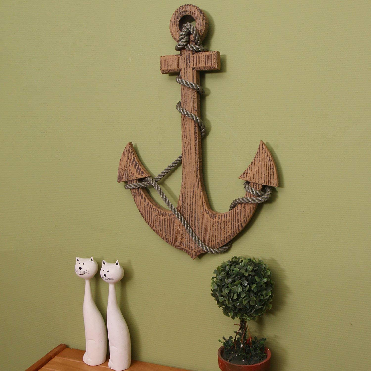 Wood Anchor Pirate Ship Boat Nautical Maritime Wall Hanging Outdoor Home Decor