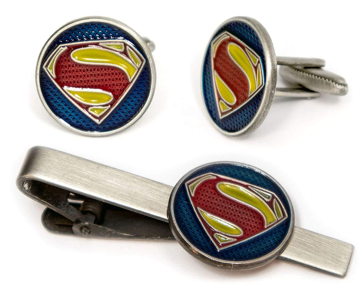 SharedImagination Superman Tie Clip, Krypton Cufflinks, DC Comics Batman vs Superman Tie Tack Jewelry, Nightwing Cuff Links Link Wedding Party Gift, Young Justice League Avengers Groomsmen Gifts by SharedImagination