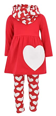 b6620e61d9f51 Unique Baby Girls Valentine's Day Double Hearts Legging Set (2T/XS, ...
