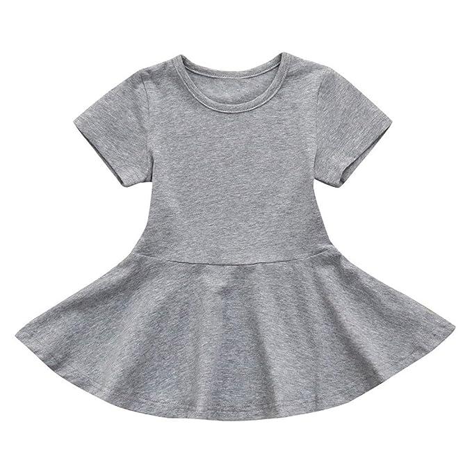 Btruely Herren Vestidos para bebe mangas corta Bebé Niña Solid Vestidos Tutú de Casual de fiesta