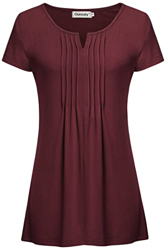 Ouncuty Womens Pleated Front Short Sleeve V Neck Vintage Knit Tunic Blouses Tops