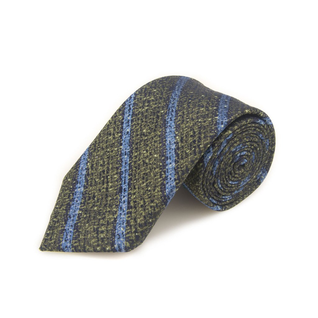 Santorelli Olive And Blue Stripe Woven Silk Tie