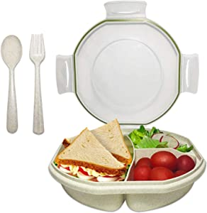 Bento Box for Kids Adults, ASYH Leak Proof 3 Compartments Lunch Container Rectangular Reusable Lunch Dinner Boxes with Fork and Spoon for Outdoors School Office (Green)