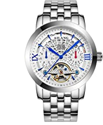 AILANG 2606LK Mens Self-Winding Auto Mechanical Skeleton Stainless Steel Wrist Watch