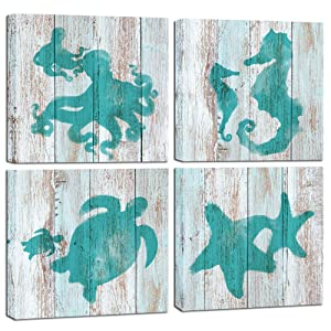 """Visual Art Decor Sea Animals Canvas Prints Teal Starfish Octopus Turtle Seahorse Painting on Retro Wood Background Kid's Room Gift Home Wall Decoration (12""""x12""""x4 Pieces)"""