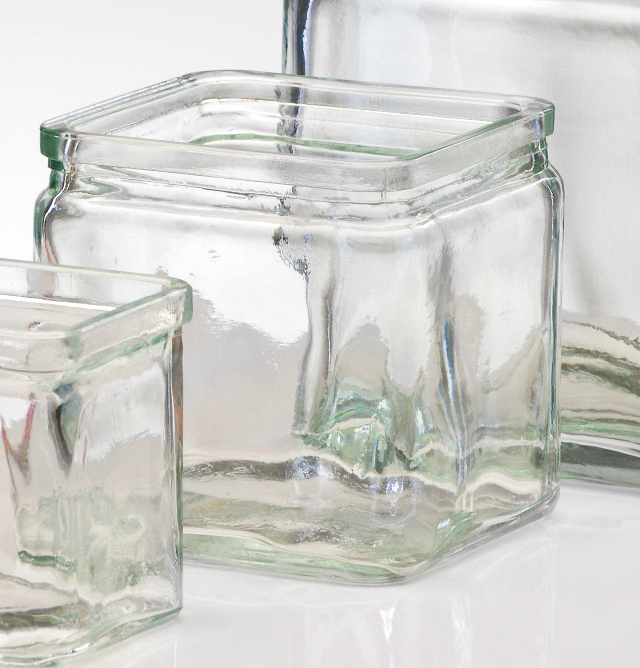 Sandra Rich - Vaso squadrato trasparente Rustic, Vetro, trasparente, 7,5 cm hoch Durchmesser 7,5 x 7,5 cm