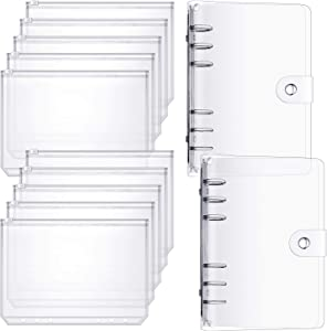 10 Pieces A6 Size Binder Pocket 6 Holes Clear PVC Zipper Binder Pockets Loose Leaf Bag Zip Envelopes with 2 Pieces A6 Binder Cover 6-Ring Binder Planner Protector for School Office Supplies