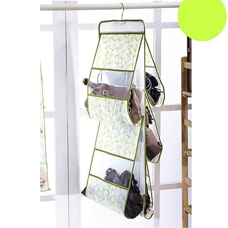 Denshine 5 estante organizador de bolsillo bolso de bolsos para colgar percha armario de pared
