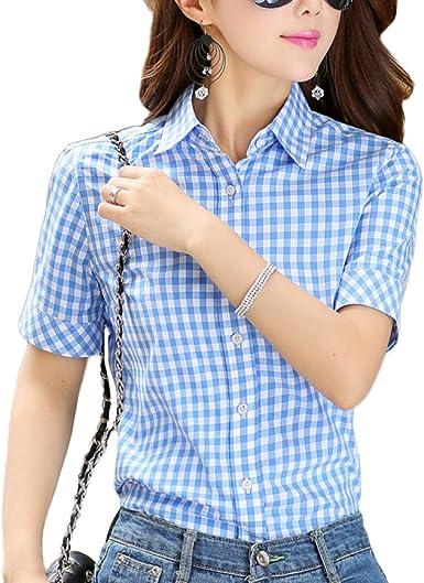 PDFGO Mujer Cuadros Camisa Camiseta Verano Manga Corta Algodón Solapa Top Polo Chaqueta, C-XXL: Amazon.es: Ropa y accesorios