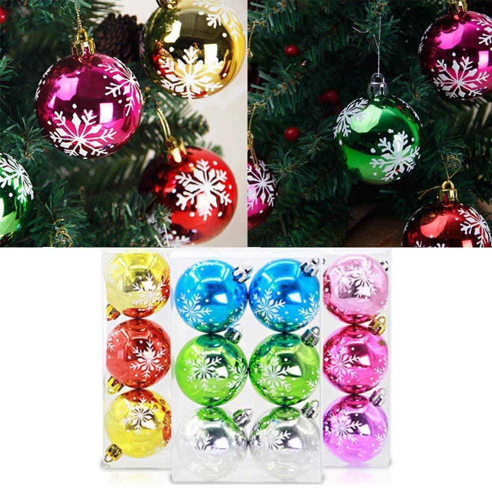 ZHRUI 6 Unids Bolas de Navidad Adornos Adornos de Navidad Árbol de Navidad Decoraciones Colgando Adorno Decoración Adorno de Navidad Bolas de Colores: ...
