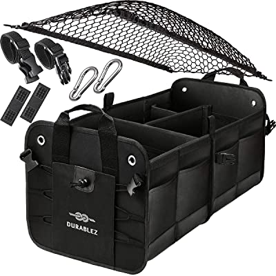 DURABLEZ Trunk Organizer with Covering Net, Attachable Non-Slip Pads, and Stainless Hooks, Black: Automotive