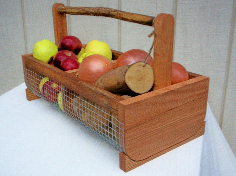 Harvesting,Garden Basket,Vegetable Storage,Kitchen Storage,Wood Basket,Storage Bin, Medium