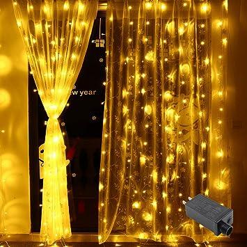 Window Curtain Lights Vilaka 98 X 98ft 300 LED Decorative String With 8