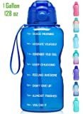 Giotto Large 1 Gallon/128oz Motivational Water Bottle with Time Marker & Straw,Leakproof Tritan BPA Free Water Jug,Ensure You Drink Enough Water Daily for Fitness,Gym and Outdoor Activity